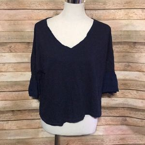 Navy blue crop top flirty sleeve
